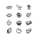 360 degree rotation icons set. Rotation arrows vector illustration. Navigation pictogram, logo, 3d model, geometry math symbol. Full view in all projections Royalty Free Stock Images