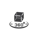360 degree rotation sign. 3d cube symbol. vector icon, solid log. O illustration, pictogram isolated on white Stock Image