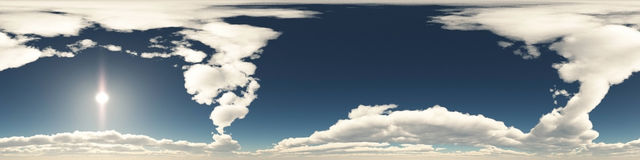 360 degree seamless panorama of clouds. On blue sky Stock Photography