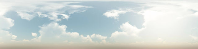 360 degree seamless panorama of clouds. On blue sky Stock Images