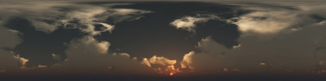 360 degree seamless panorama of clouds. At sunset Stock Photos