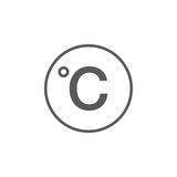 Degree sign, celsius icon isolated on white . Royalty Free Stock Photography