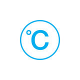 Degree sign, celsius icon isolated on white background. Vector illustration. Royalty Free Stock Photography