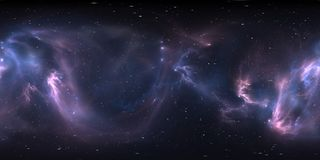 360 degree space nebula panorama, equirectangular projection, environment map. HDRI spherical panorama. Space background with nebula and stars. 3d illustration royalty free illustration