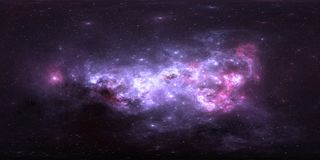 360 degree space nebula panorama, equirectangular projection, environment map. HDRI spherical panorama. Space background with nebula and stars. 3d illustration Stock Photography