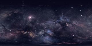 360 degree space nebula panorama, equirectangular projection, environment map. HDRI spherical panorama. Space background. Royalty Free Stock Photos