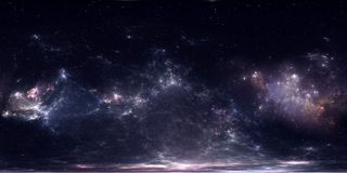 360 degree space nebula panorama, equirectangular projection, environment map. HDRI spherical panorama. Space background. Stock Images