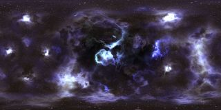 Deep space stars and nebula 360 degree panorama Royalty Free Stock Photography