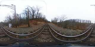 360 Degree, Spherical, Seamless Panorama Train Tracks Royalty Free Stock Photo