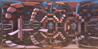360 degree strange labyrinth world panorama, equirectangular projection, environment map. HDRI spherical panorama. 3d illustration vector illustration