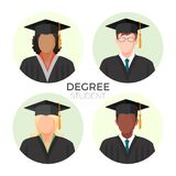 Degree student faceless avatars, males and female in mortarboard caps. With tassels in mantle gowns vector illustration profiles set in round buttons Stock Images