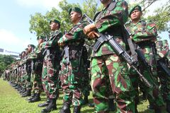 Degree of troops before asean para games Stock Photo