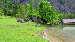 360 degree view of an alpine lake Obersee in German Alps stock video