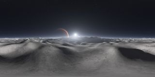 360 degree view from Jupiter`s moon, equirectangular projection, environment map. HDRI spherical panorama. Space background. 3d illustration stock illustration