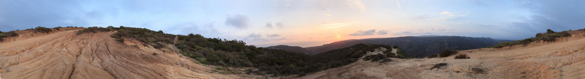 A 360 degree view of the mountains from Top of the World. Hiking trails in Laguna Beach, California, United States at sunset royalty free stock image