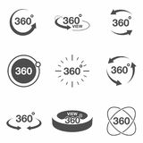 360 degree view related icon set. Signs and arrows for indicate the rotation and panorama, VR technology icons. Vector Royalty Free Stock Images