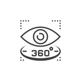 360 degree view sign. eye line icon, outline vector logo illustr. Ation, linear pictogram isolated on white Royalty Free Stock Photography
