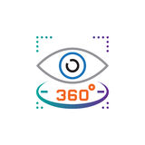 360 degree view sign. eye line icon, outline vector logo illustration, linear pictogram isolated on white. Stock Image