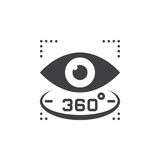 360 degree view sign. eye vector icon, solid logo illustration,. Pictogram isolated on white Stock Photography