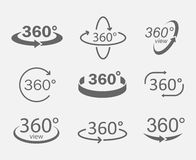 360 degree views icons. 360 degree views of vector circle icons  from the background. Signs with arrows to indicate the rotation or panoramas to 360 degrees Royalty Free Stock Images