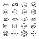 360 degree views of vector circle icons  from the background. Signs with arrows to indicate the rotation or. Panoramas to 360 degrees. Vector illustration Royalty Free Stock Image