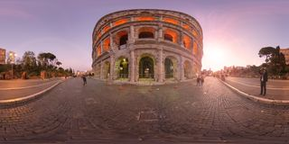 360 degree Virtual Reality sunset in Rome Colosseum Italy royalty free stock photography