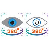 360 degree vision line icon, outline and solid vector sign, line. Ar and full pictogram isolated on white, colorful logo illustration Stock Photo