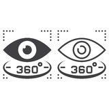 360 degree vision line icon, outline and solid vector sign, line. Ar and full pictogram isolated on white, logo illustration Royalty Free Stock Images