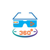360 degree vr glasses icon vector, solid logo illustration, pictogram isolated on white. Stock Image
