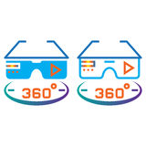 360 degree vr glasses line icon, outline and solid vector sign,. Linear and full pictogram isolated on white, colorful logo illustration Royalty Free Stock Images