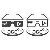 360 degree vr glasses line icon, outline and solid vector sign,. Linear and full pictogram isolated on white, logo illustration Stock Photo