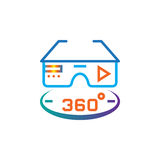 360 degree vr glasses line icon, outline vector logo illustration, linear pictogram isolated on white. Stock Photography