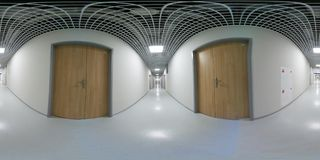 360 degree VR panorama of a long white empty corridor. Interior Stock Images