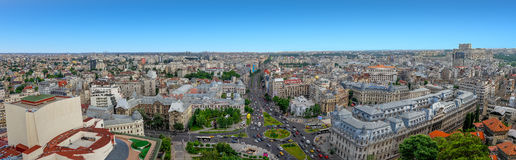 180 Degrees aerial panorama of the capital city of Romania, Bucharest. Stock Photo