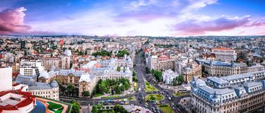 180 Degrees aerial panorama of the capital city of Romania, Bucharest. Stock Photos