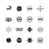 Degrees angle view, rotate vector icons set Stock Photo