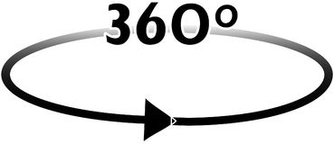 360 degrees with arrow in a complete turn Royalty Free Stock Photos