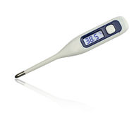 38.5 degrees Celsius. On clinical electronic thermometer on white background royalty free stock images