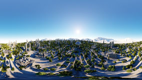 360 degrees. futuristic city, town. Architecture of the future. Aerial view. 3d rendering. spherical panorama Stock Images