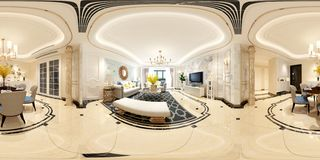 360 degrees of home interior, living room.  royalty free stock photo
