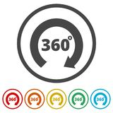 360 degrees icon, 6 Colors Included. Simple vector icons set Royalty Free Stock Photo