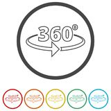 360 degrees icon, 6 Colors Included. Simple vector icons set Stock Photography