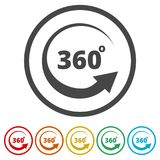 360 degrees icon, 6 Colors Included. Simple vector icons set Stock Photo