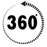 360 degrees icon on white background. 360 degrees sign. 360 degrees icon on white background. flat style. 360 degrees sign Royalty Free Stock Image