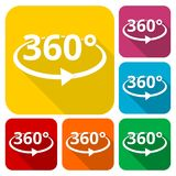 360 degrees icons set with long shadow. Vector icon Royalty Free Stock Images
