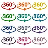 360 degrees icons set. Vector icon Royalty Free Stock Images