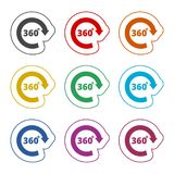 360 degrees line icon, color icons set. Simple vector icon Royalty Free Stock Image