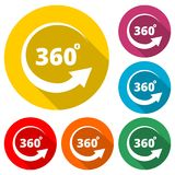 360 degrees line icon, color icon with long shadow. Simple vector icons set Stock Image
