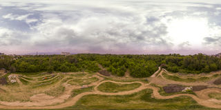 360 degrees panorama of the Recreation and Culture park in Plovd. 380 by 180 degrees spherical panorama of a footpath at the Recreation and Culture park in Stock Photos