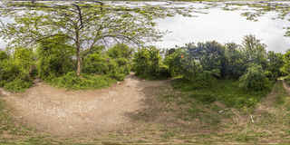 360 degrees panorama of the Recreation and Culture park in Plovd. 380 by 180 degrees spherical panorama of a footpath at the Recreation and Culture park in Stock Photo
